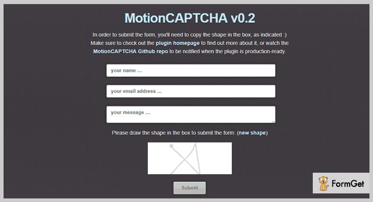 MotionCAPTCHA jQuery Captcha Plugin