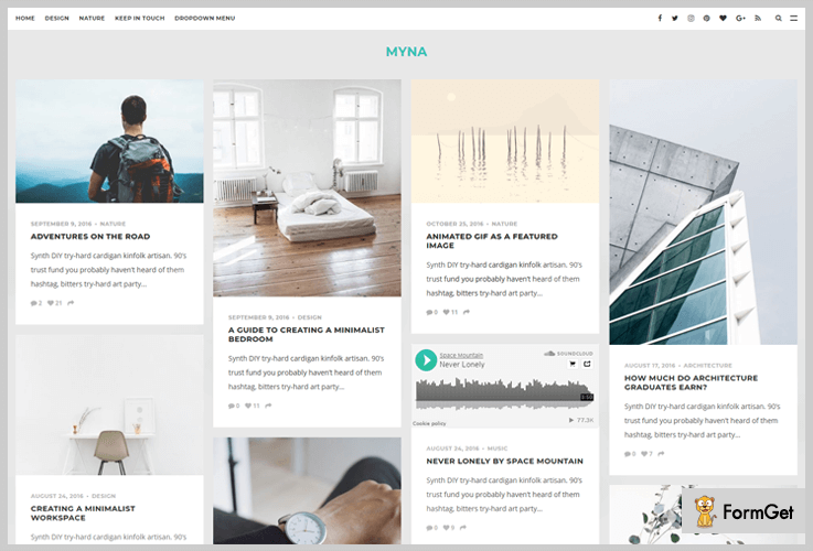 Myna Masonry WordPress Themes