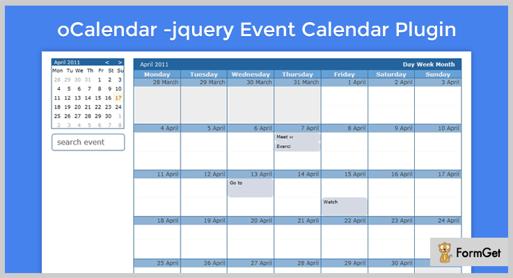 oCalendar jQuery Calendar Plugin