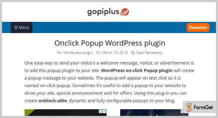 Onclick Popup Onclick Popup WordPress Plugin
