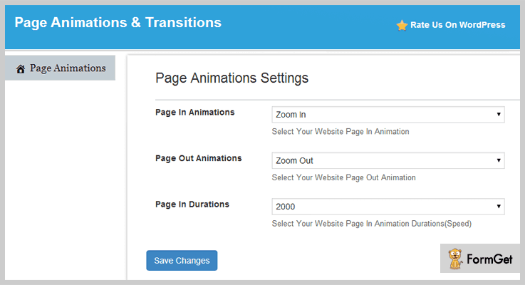 Page Animations & Transitions Animation WordPress Plugin