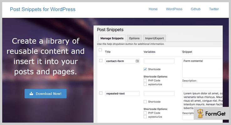 Post Snippets WordPress Snippets Plugin