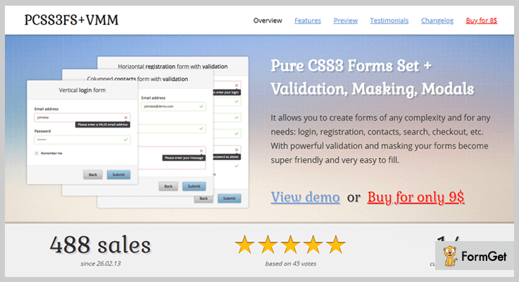 Pure CSS3 Forms Set jQuery Validation Plugin