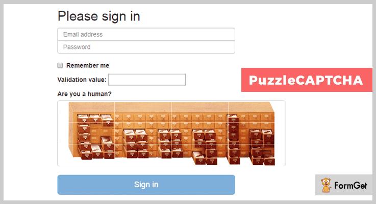 PuzzleCAPTCHA jQuery Captcha Plugin