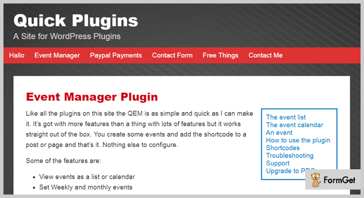 Quick Event Manager Event Manager WordPress Plugin