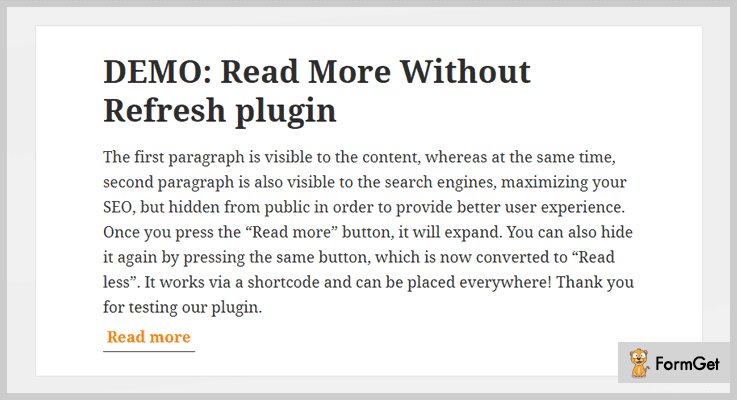 Read More Without Refresh Read More WordPress Plugin