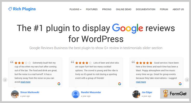 RichPlugins Google Reviews WordPress Plugin