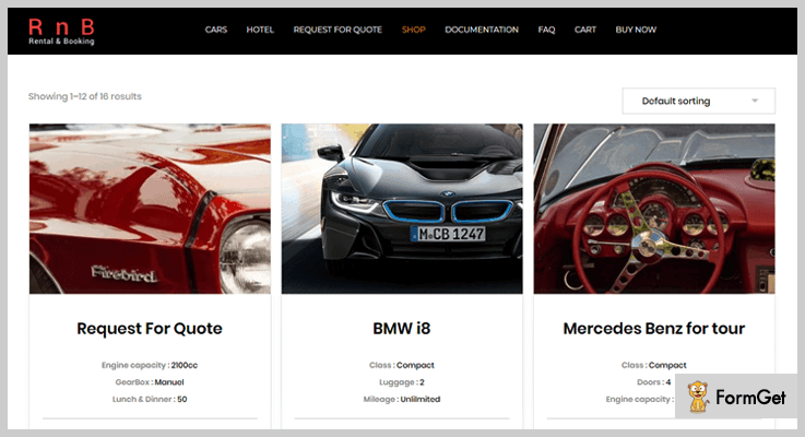 RnB Car Rental WordPress Plugin