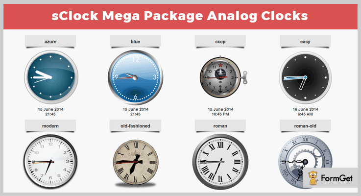 sClock Mega Package Analog Clocks jQuery Clock Plugins
