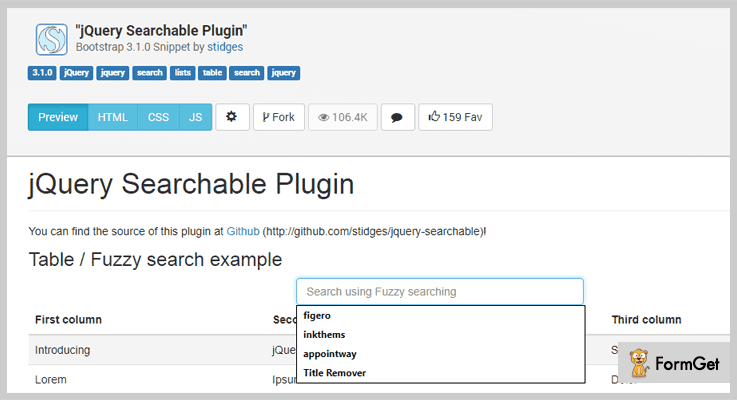 Searchable jQuery Search Plugin