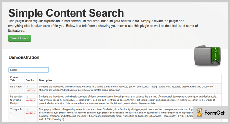 Simple Content Search jQuery Search Plugin