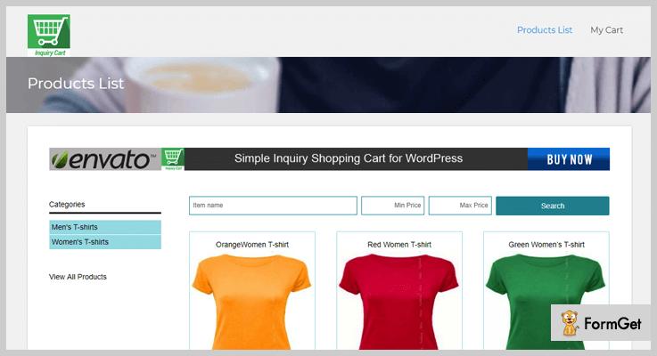 Simple Inquiry Shopping Cart WordPress Plugin