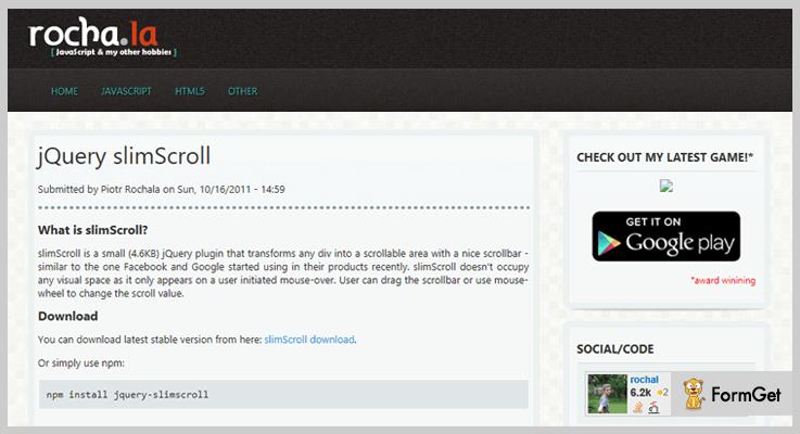 slimScroll jQuery ScrollBar Plugin