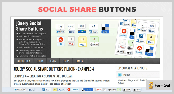 jQuery Social Share Buttons jQuery Social Media Plugins