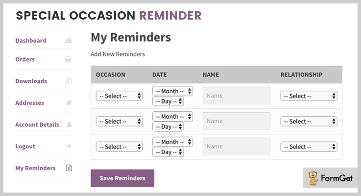 WooCommerce Special Occasion Reminder WordPress Birthday Reminder Plugins
