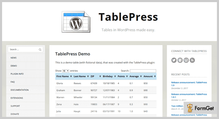 TablePress Pagination WordPress Plugin