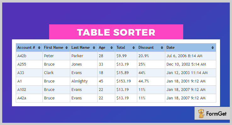 tablesorter jQuery Table Plugin