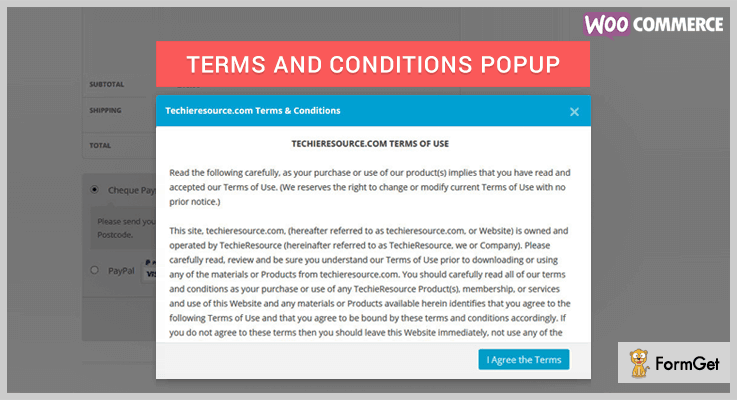 WooCommerce Terms and Conditions Popup WordPress Terms And Conditions Plugin