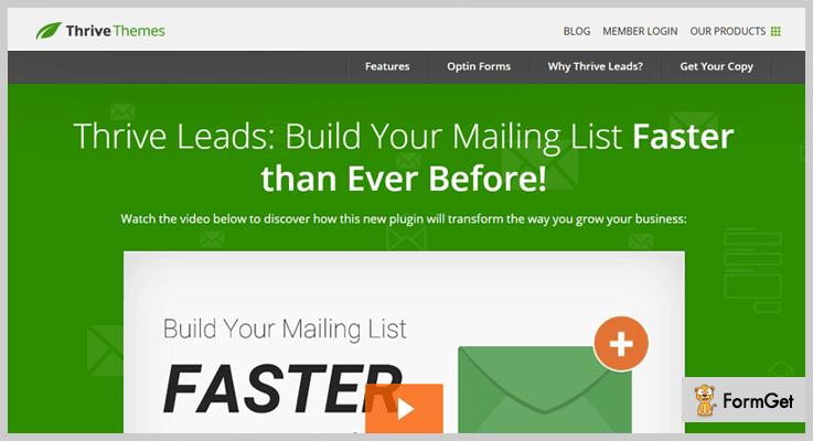 Thrive Leads Mailing List WordPress Plugin