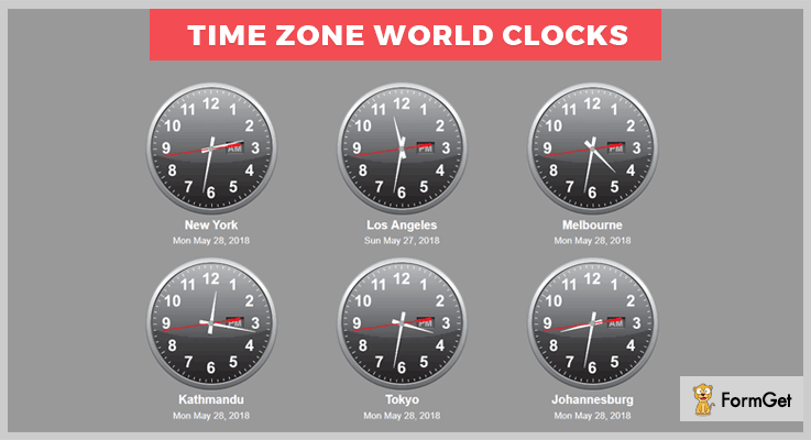 jQuery Time Zone World Clocks jQuery Clock Plugins