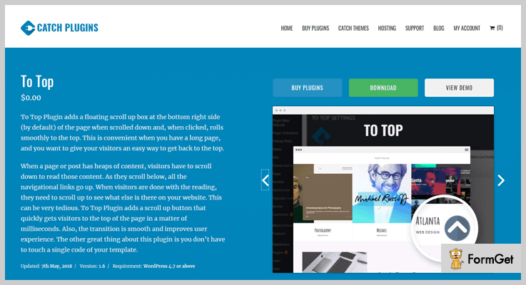 To Top Back To Top WordPress Plugin