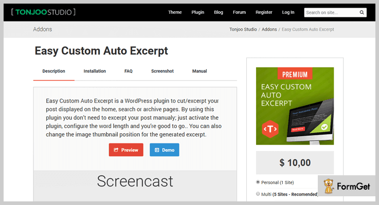 Easy Custom Auto Excerpt Read More WordPress Plugin