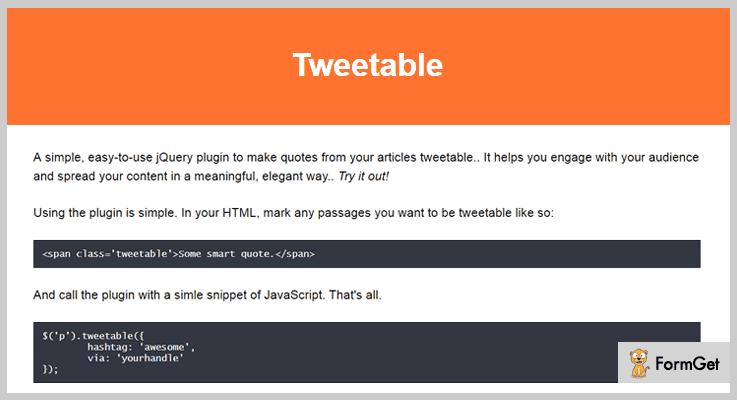 Tweetable jQuery Social Media Plugins