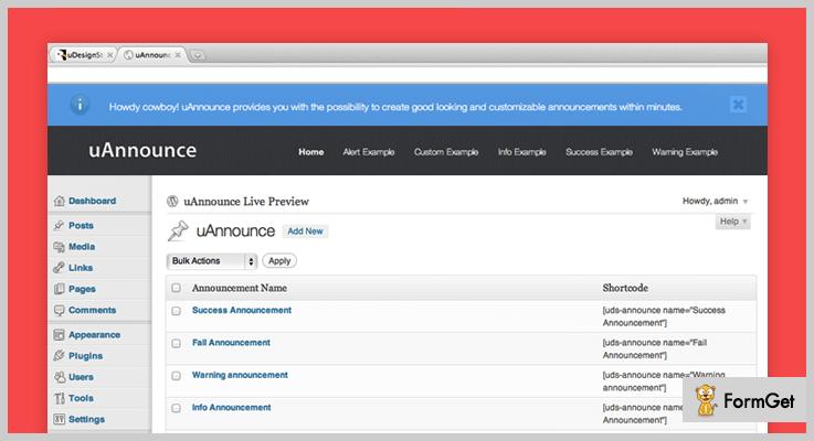 UAnnounce Announcement WordPress Plugin