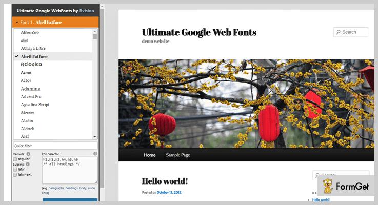 Ultimate Google Web Fonts WordPress Typography Plugin
