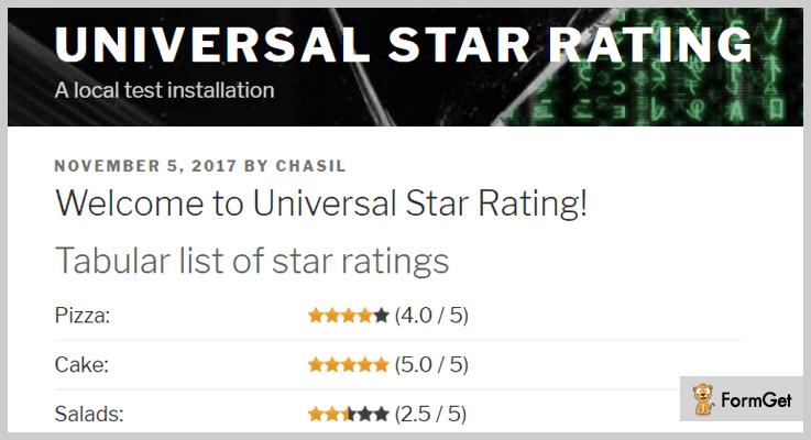 Universal Star Rating WordPress Plugin