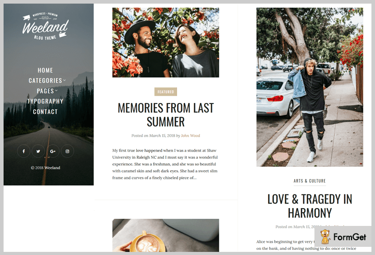 Weeland Masonry WordPress Theme