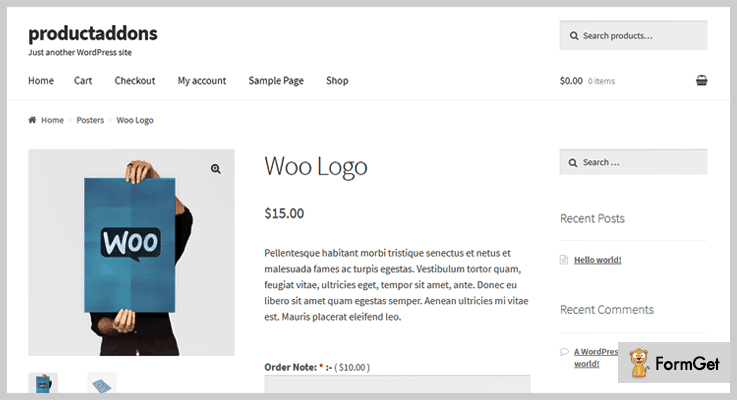 WooCommerce Product Addons WordPress Options Plugin
