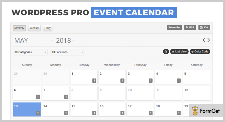 WorPress Pro Event Calender Event Calendar WordPress Plugin