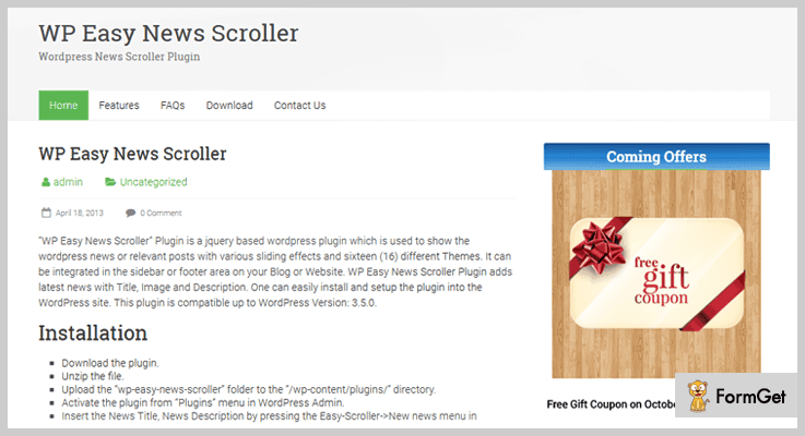 WP Easy News Scroller News WordPress Plugins