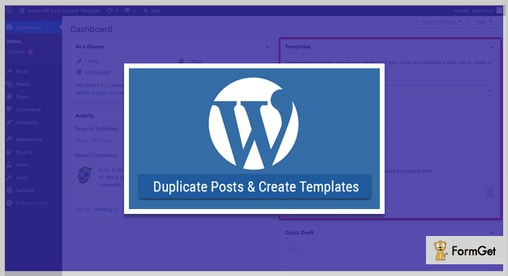 WP Template WordPress Duplicate Plugin