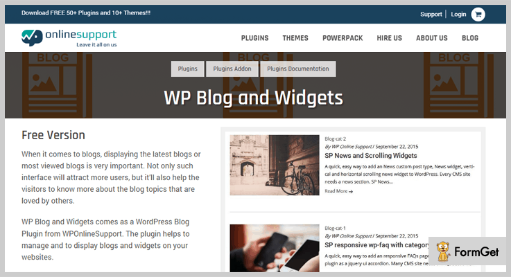 WP Blog And WP Widget WordPress Plugin For Blogs