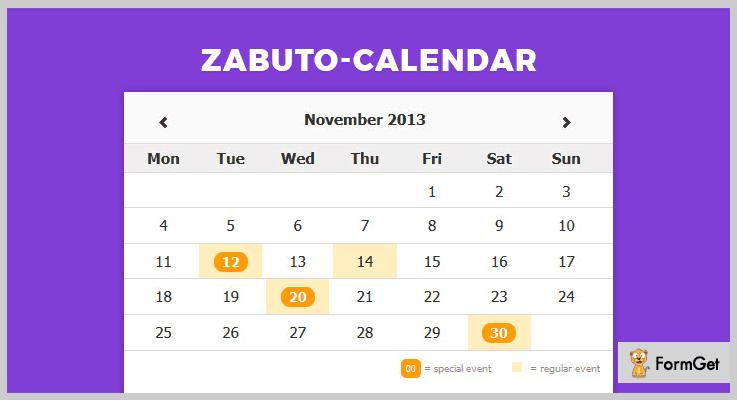 Zabuto Calendar jQuery Calendar Plugin