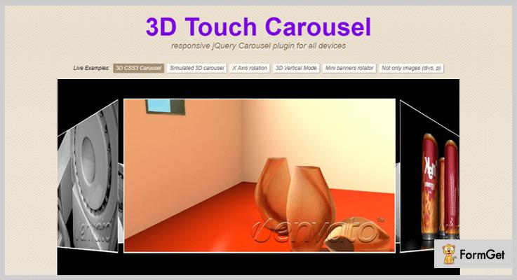 3D Touch Carousel jQuery 3D Effect Plugin