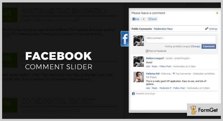Facebook Comment Slider jQuery Facebook Plugins