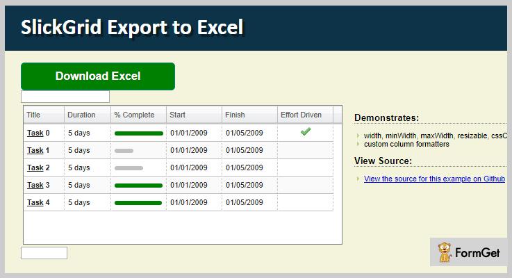 SlickGrid Export To Excel jQuery Plugin