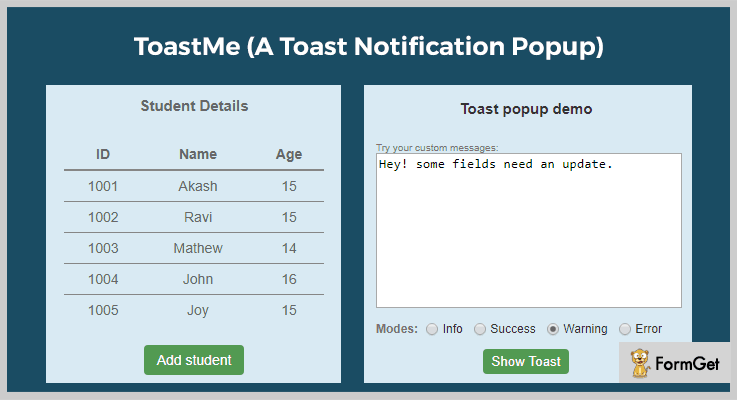 ToastMe Toast Notification jQuery Plugins