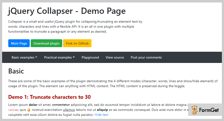 Collapser jQuery Text Truncating Plugin