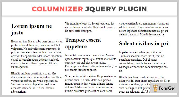 Columnizer jQuery Layout Plugins