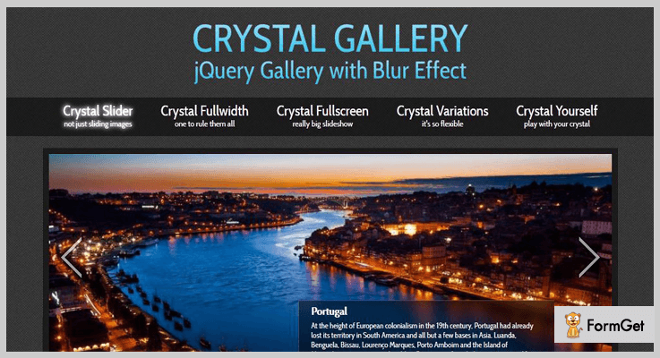 Crystal Gallery jQuery Blur Plugin