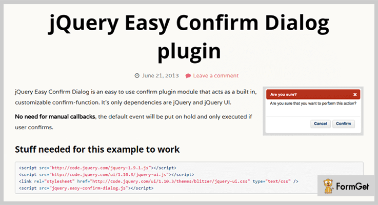 Easy Confirm Dialog jQuery Confirm Dialog Plugin