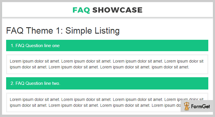 HTML Responsive FAQ Showcase FAQ jQuery Plugin