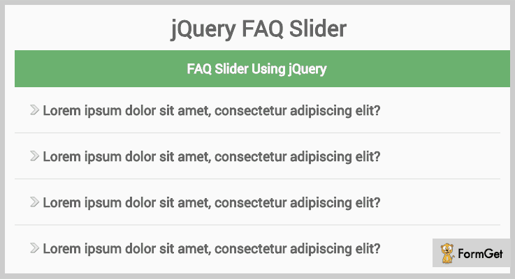 FAQ Slider FAQ jQuery Plugin