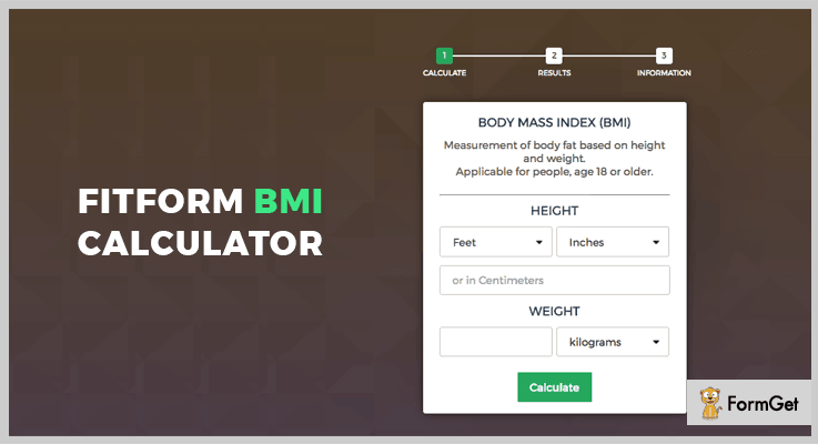 Fitform BMI Calculator Calculator jQuery Plugin