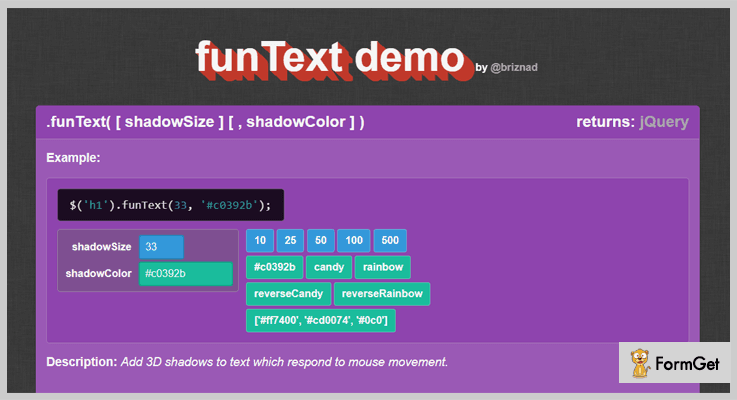 Fun Text jQuery Text Shadow Plugin