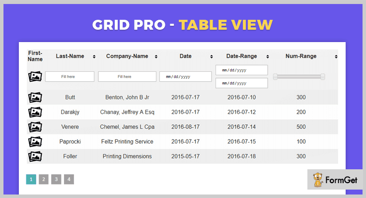 Grid Pro jQuery Table Sorting Plugin
